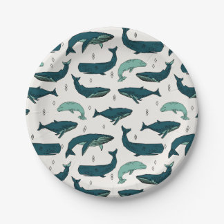 Whale/Whales Ocean Nautical Green / Andrea Lauren Paper Plate