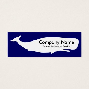 Professional Business Whale - White on Deep Navy Mini Business Card