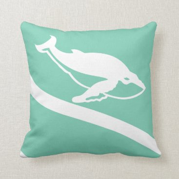Beach Themed whale. WHITE on grey blue green teal pillow