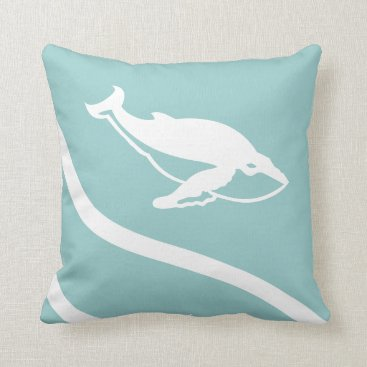 Beach Themed whale. WHITE on grey blue pillow