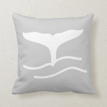 Beach Themed whale. WHITE on grey pillow