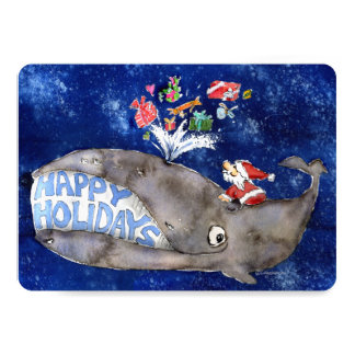 Whale Wishes Cartoon Holiday Card