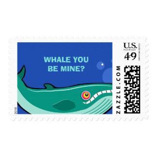 Whale You be Mine Pun Blue Celebration Stamp