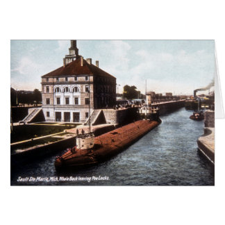 Whaleback at the Sault - Vintage Greeting Card