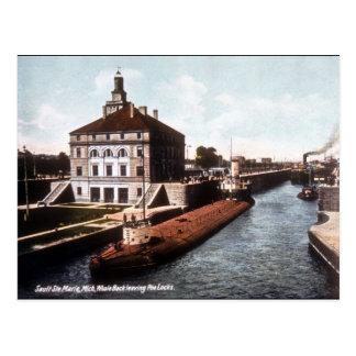 Whaleback at the Sault - Vintage Postcard