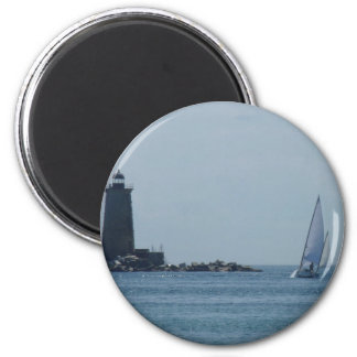 Whaleback Light and Sailboat 2 Inch Round Magnet