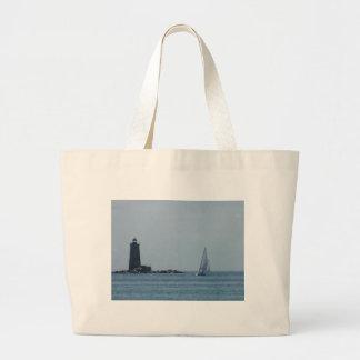 Whaleback Light and Sailboat Jumbo Tote Bag