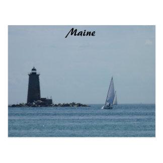 Whaleback Light and Sailboat Postcard
