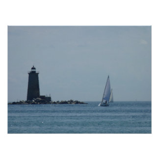 Whaleback Light and Sailboat Poster