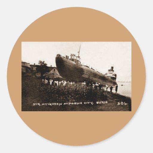Whaleback Str Atikokan Ashore Marine City, MI Classic Round Sticker