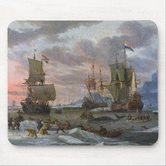 Whalers holandeses de una costa rocosa tapete de ratones