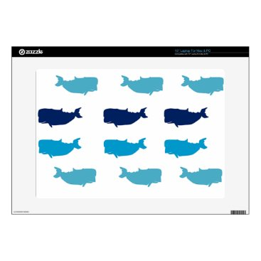 "Beach Themed Whales 15"" Laptop Skins"