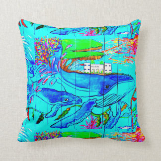 whales and dolphins blue pillow