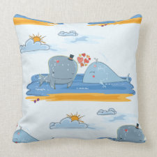 Whales and Hearts Throw Pillow