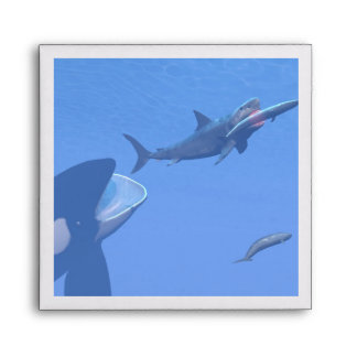 Whales and megalodon underwater - 3D render Envelope