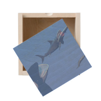 Whales and megalodon underwater - 3D render Wooden Keepsake Box