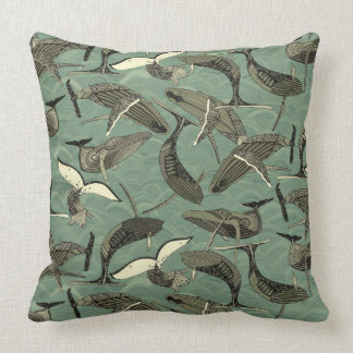 whales and waves aqua throw pillow
