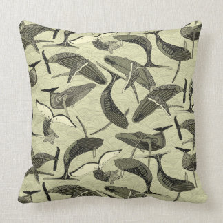whales and waves natural throw pillow