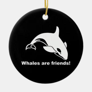 Whales Are Friends Ceramic Ornament