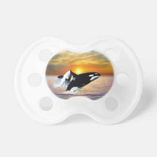 Whales at sunset baby pacifier