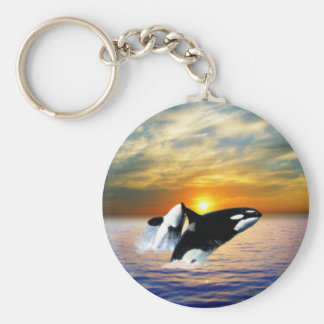 Whales at sunset basic round button keychain
