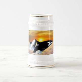 Whales at sunset beer stein