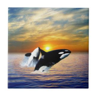 Whales at sunset ceramic tile