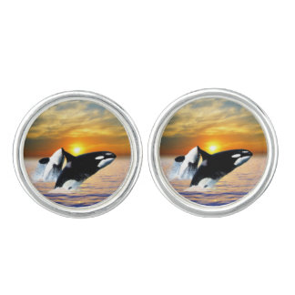 Whales at sunset cufflinks