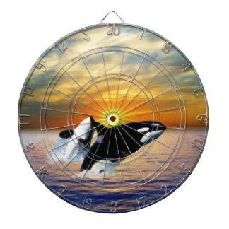 Whales at sunset dart board
