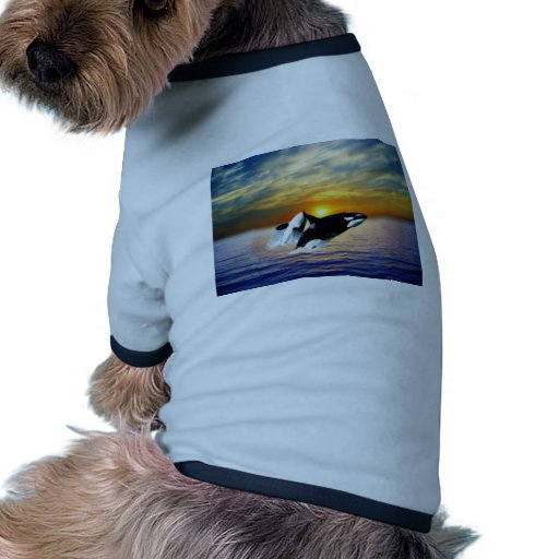 Whales at sunset dog t shirt