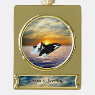 Whales at sunset gold plated banner ornament