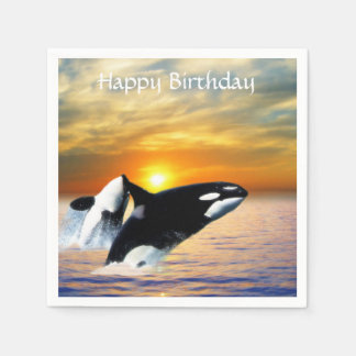 Whales at sunset napkin