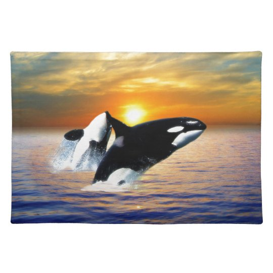 Whales at sunset placemat