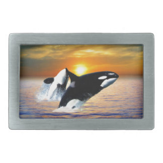 Whales at sunset rectangular belt buckle