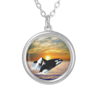 Whales at sunset round pendant necklace
