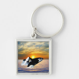 Whales at sunset Silver-Colored square keychain