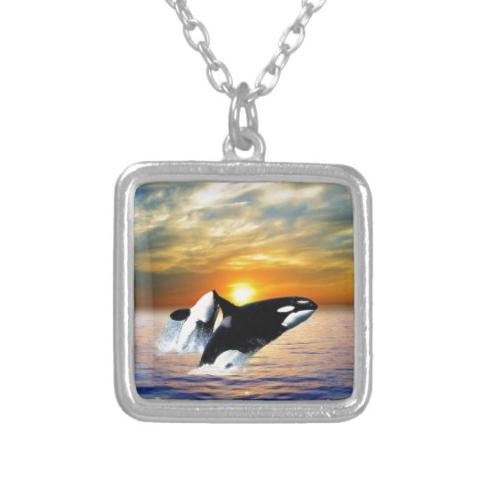 Whales at sunset silver plated necklace