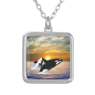 Whales at sunset square pendant necklace