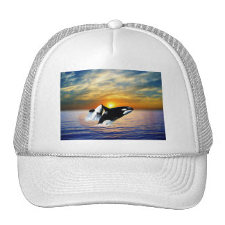 Whales at sunset trucker hat