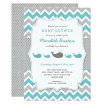 Whales baby shower invitation, neutral gender invitation