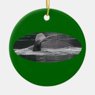 whales breaching ceramic ornament