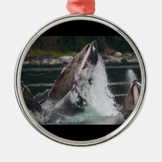 whales breaching the water metal ornament
