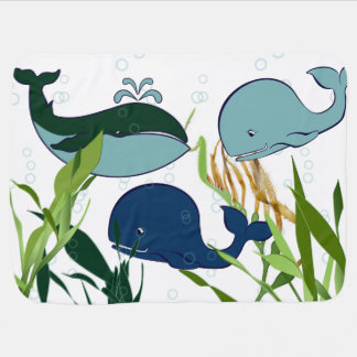 Whales, Bubbles, & Seaweed - Baby Blanket