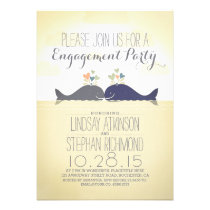 Whales couple cute nautical beach engagement party card