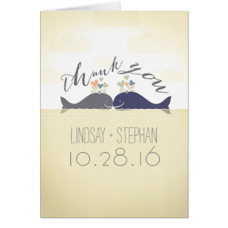 whales cute romantic modern wedding thank you card