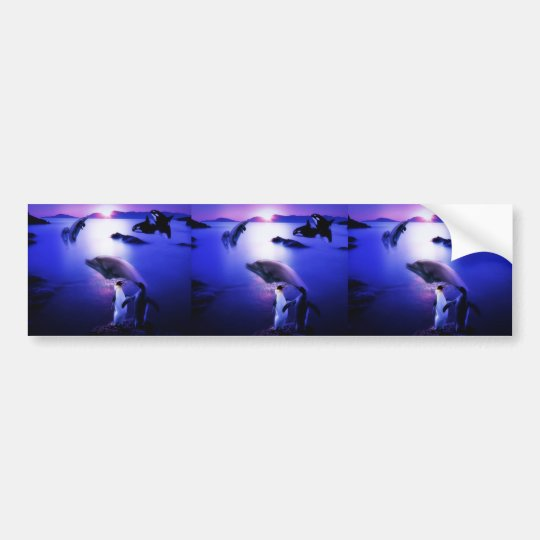 Whales dolphins penguins ocean sunset bumper sticker