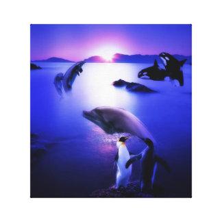 Whales dolphins penguins ocean sunset canvas print