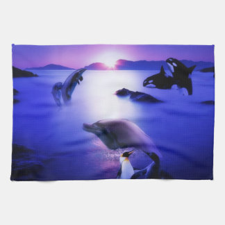 Whales dolphins penguins ocean sunset hand towel