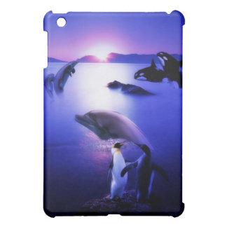 Whales dolphins penguins ocean sunset iPad mini case