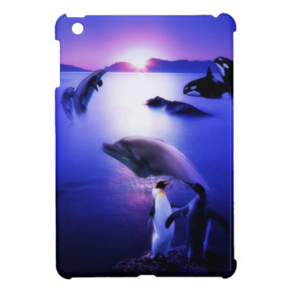 Whales dolphins penguins ocean sunset iPad mini covers